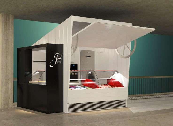 Gelatos Cafe. Kiosco modelado en Autocad