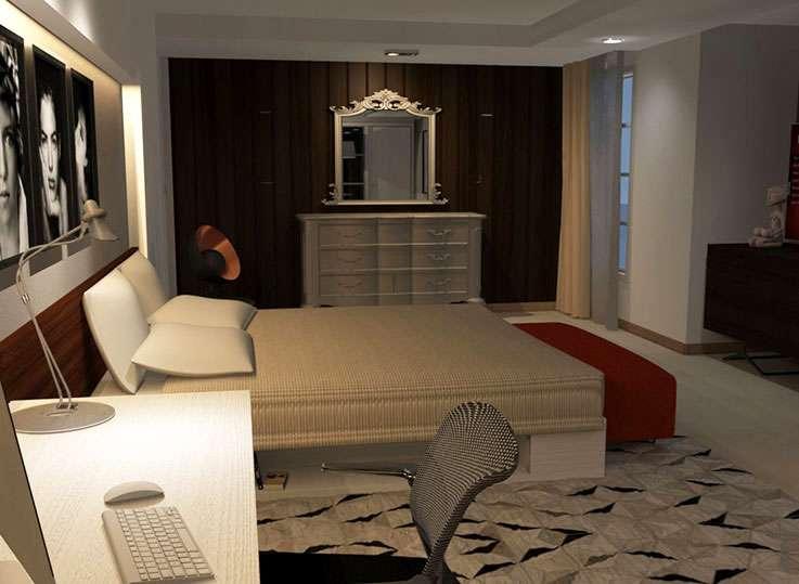Indira París. Dormitorio modelado en Autocad